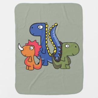 お洒落な恐竜の友人、かわいくおよび愛らしいです ベビー ブランケット