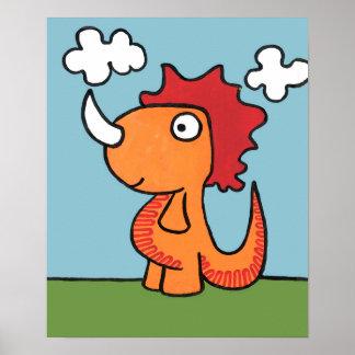 お洒落な恐竜の友人、かわいくおよび愛らしいです ポスター