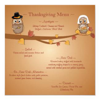 お洒落な感謝祭のフクロウの感謝祭メニュー カード