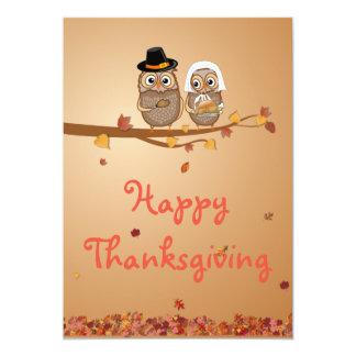 お洒落な感謝祭のフクロウ 12.7 X 17.8 インビテーションカード