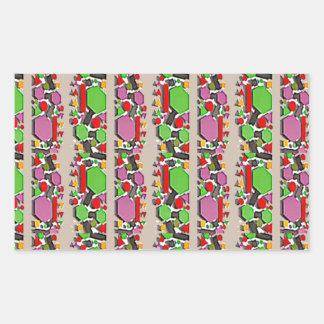 お洒落な抽象美術: シンプルで芸術的なパターン 長方形シール
