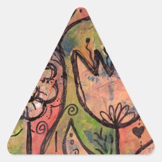 お洒落な春の妖精の国の庭 三角形シール