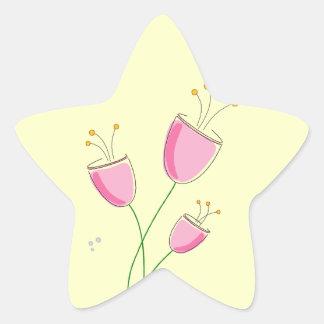 お洒落な春の花 星シール