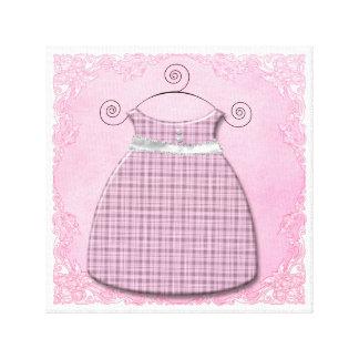 お洒落な服のピンクおよび灰色の女の赤ちゃん キャンバスプリント