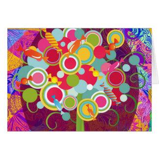 お洒落な棒つきキャンデーキャンデーの木のカラフルの抽象芸術国連 カード