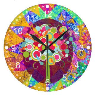 お洒落な棒つきキャンデーキャンデーの木のカラフルの抽象芸術国連 ラージ壁時計