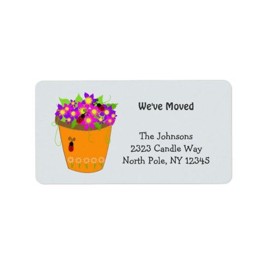 お洒落な植木鉢の新しい住所 宛名ラベル