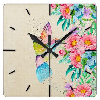 お洒落な水彩画のハチドリおよび花 スクエア壁時計
