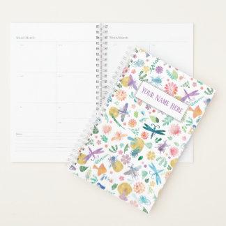 お洒落な水彩画の昆虫および花 プランナー手帳