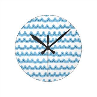 お洒落な海洋波 ラウンド壁時計