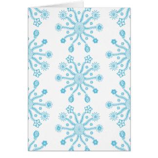 お洒落な淡いブルーの花いっぱいの落書きパターン カード