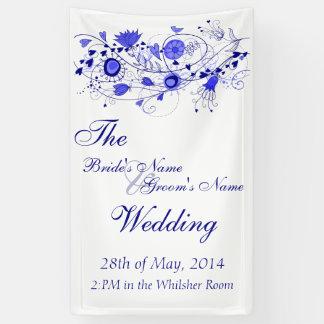 お洒落な濃紺の結婚式の旗 横断幕