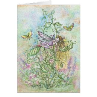 お洒落な睡眠の花の妖精および蝶 グリーティングカード