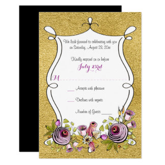 お洒落な結婚RSVP  ののどの金ゴールドホイル、花 カード