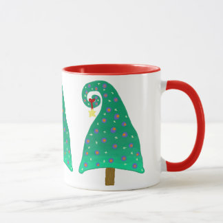 お洒落な緑のクリスマスツリー マグカップ