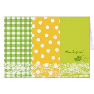 お洒落な緑のベビーのひよこのレースのサンキューカード カード