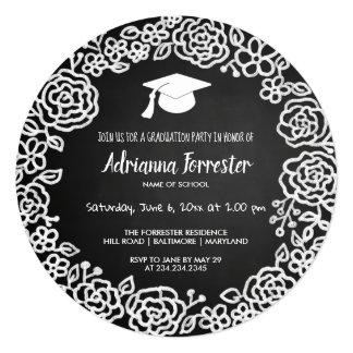 お洒落な花のリースの黒板|の大学院の帽子 カード