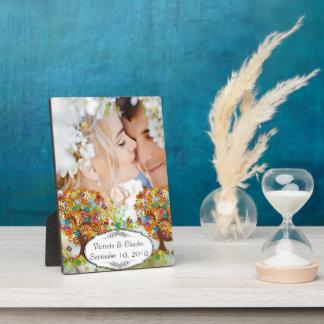 お洒落な花の木の結婚式 フォトプラーク