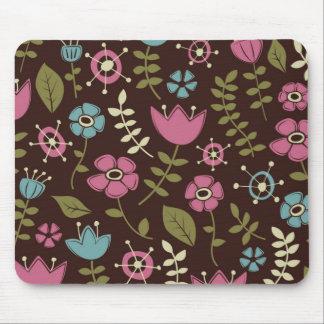 お洒落な花の自然パターン マウスパッド