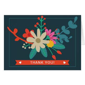 お洒落な花柄はサンキューカードを折りました カード