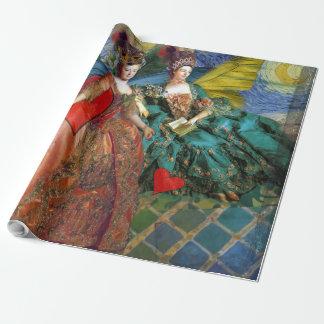 お洒落な蝶女性のジェミニ青のコラージュ ラッピングペーパー