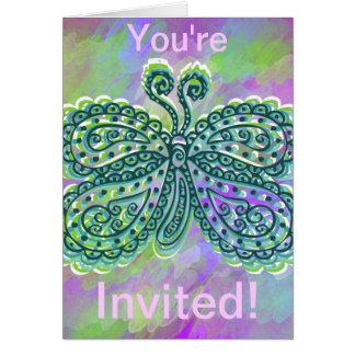 お洒落な蝶招待 カード
