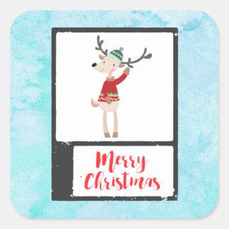 お洒落な醜いセーターのクリスマスのトナカイ スクエアシール