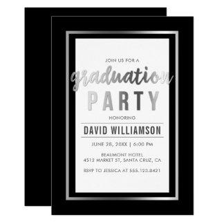 お洒落な銀及び黒いタイポグラフィの卒業パーティー カード