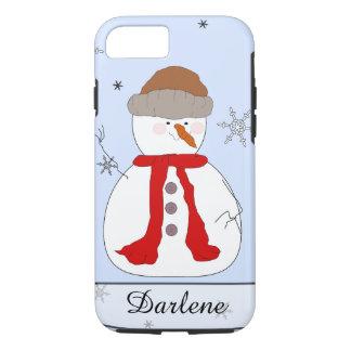お洒落な雪だるま、赤いスカーフ、帽子、雪片の名前 iPhone 8/7ケース