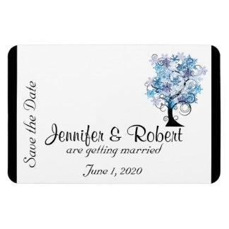 お洒落な雪片の木の結婚式の保存日付 マグネット