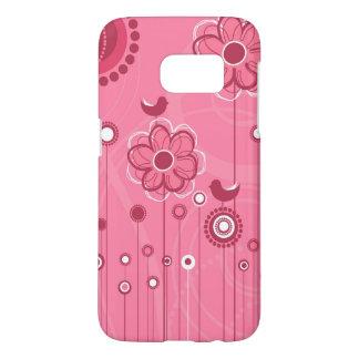 お洒落な鳥および花模様のピンク SAMSUNG GALAXY S7 ケース
