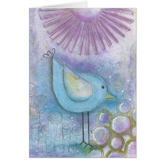 お洒落な鳥の混合メディアの芸術の挨拶状 カード