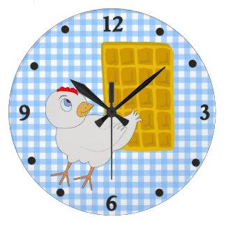 お洒落な鶏およびワッフルの台所柱時計 ラージ壁時計
