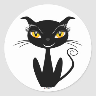 お洒落な黒猫 ラウンドシール