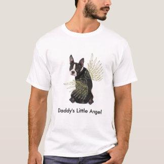 お父さんの少しボストンテリアの天使のTシャツ Tシャツ