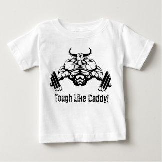 お父さんの重量挙げのベビーのワイシャツのように堅い ベビーTシャツ