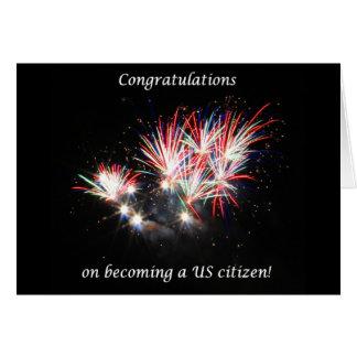 お祝いなる米国の市民、花火 カード