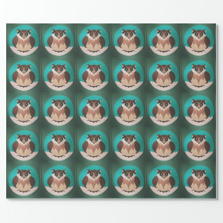 お祝いのかわいい冬のフクロウの包装紙 ラッピングペーパー