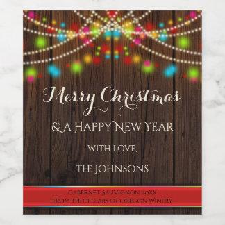 お祝いのひもはクリスマスのワインのラベルをつけます ワインラベル