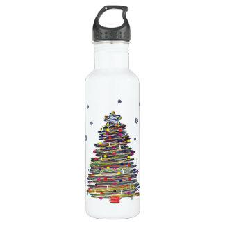 お祝いのカラフルなクリスマスツリー(それをカスタマイズ!) ウォーターボトル