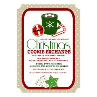 お祝いのクリスマスのクッキー交換パーティの招待状 カード