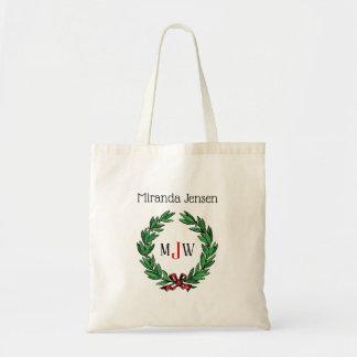 お祝いのクリスマスのクリスマスのヒイラギのリースのモノグラム トートバッグ