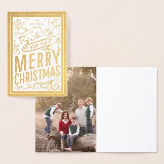 お祝いのクリスマスのタイポグラフィの写真のメリークリスマス 箔カード
