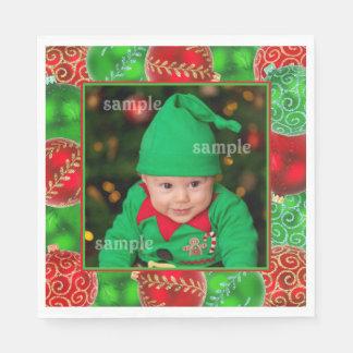 お祝いのクリスマスの休日の写真テンプレート スタンダードランチョンナプキン