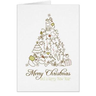お祝いのクリスマスキャロルの木のメリークリスマスカード グリーティングカード