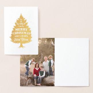 お祝いのクリスマスツリーの写真のメリークリスマス 箔カード