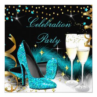 お祝いのシャンペンのパーティーのティール(緑がかった色)の青のハイヒール 13.3 スクエアインビテーションカード