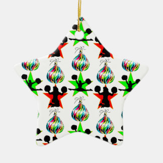 お祝いのチアリーティングのクリスマスのデザイン セラミックオーナメント