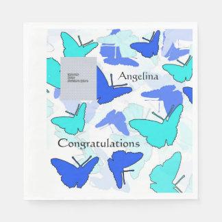 お祝いのテンプレートの青い蝶ナプキン スタンダードランチョンナプキン