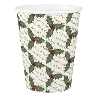 お祝いのデッキホールクリスマスの紙コップ 紙コップ